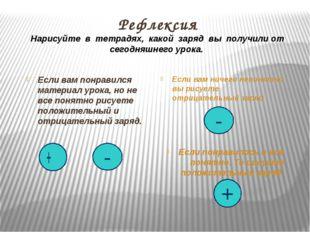 Рефлексия Нарисуйте в тетрадях, какой заряд вы получили от сегодняшнего урока