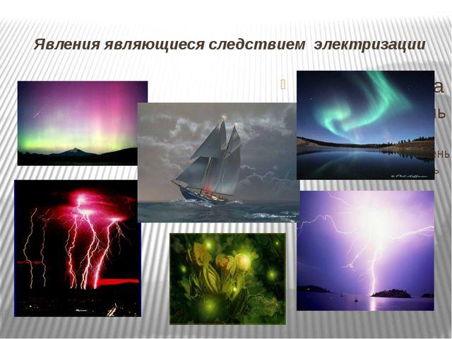 Явления являющиеся следствием электризации