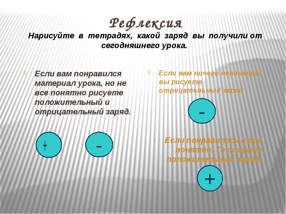 Рефлексия Нарисуйте в тетрадях, какой заряд вы получили от сегодняшнего урока...