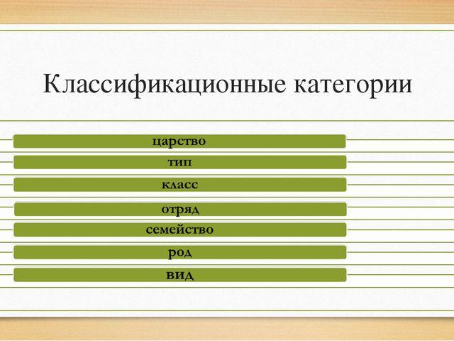 Классификационные категории