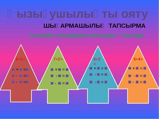 Қызығушылықты ояту ШЫҒАРМАШЫЛЫҚ ТАПСЫРМА 8+1= + 7+2= 6+3= 5+4= + + + - - - -...