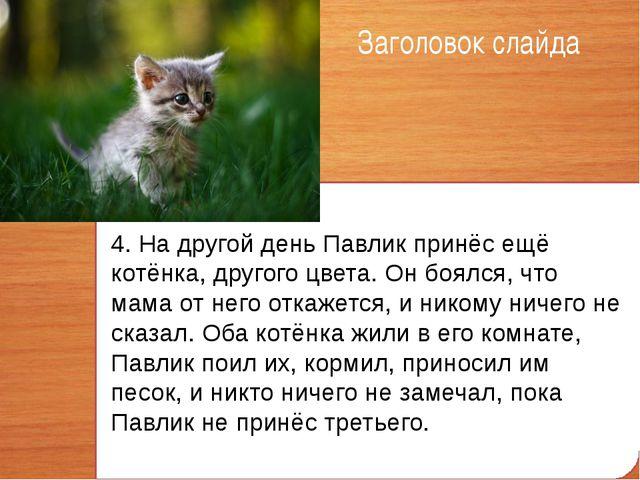 Заголовок слайда 4. На другой день Павлик принёс ещё котёнка, другого цвета....