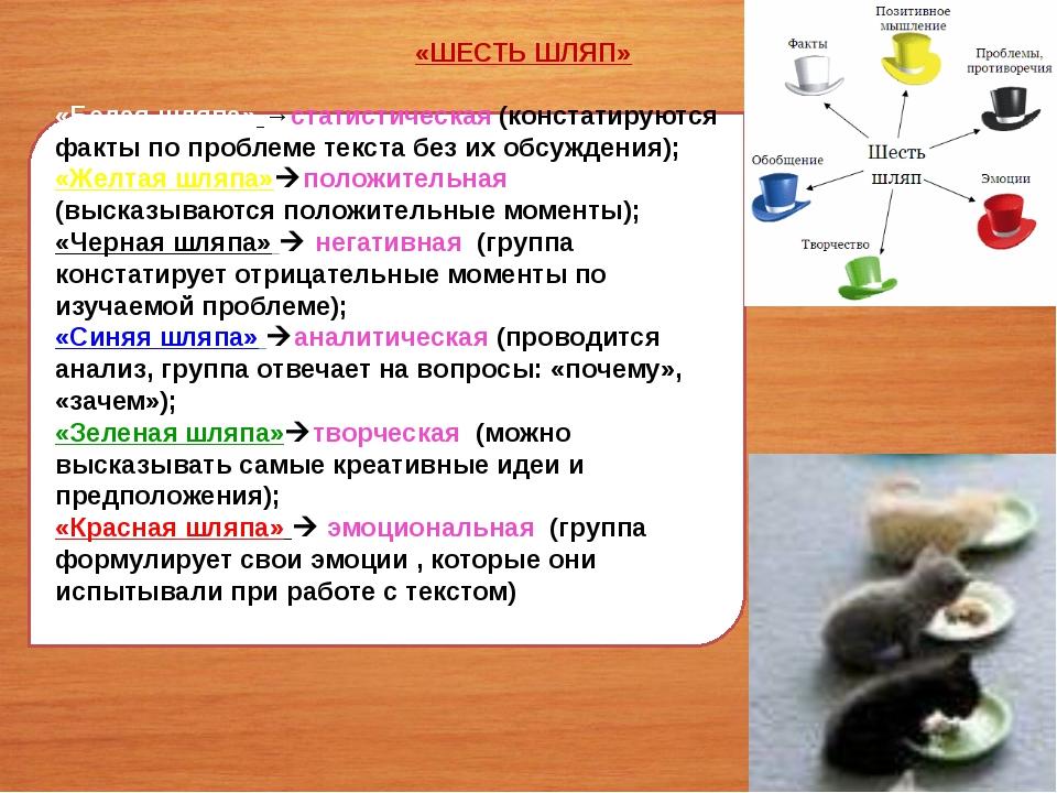 «Белая шляпа» →статистическая (констатируются факты по проблеме текста без их...