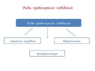 Виды правомерного поведения Виды правомерного поведения Социально активное Ма