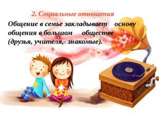 2. Социальные отношения Общение в семье закладывает основу общения в большом