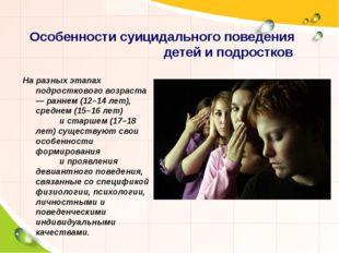 Особенности суицидального поведения детей и подростков На разных этапах подро