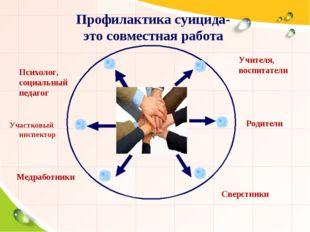 Профилактика суицида- это совместная работа Title Учителя, воспитатели Психол