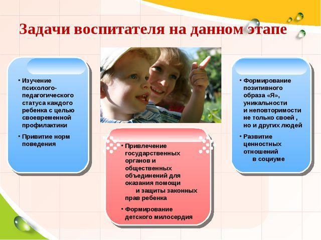 Задачи воспитателя на данном этапе Изучение психолого-педагогического статуса...