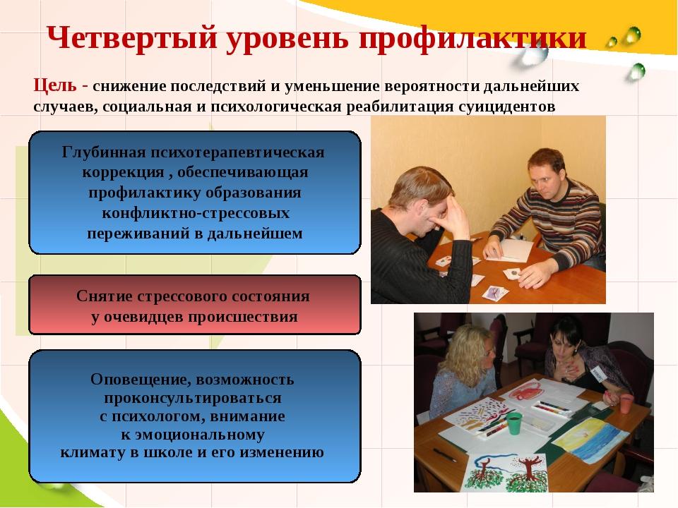 Четвертый уровень профилактики Снятие стрессового состояния у очевидцев проис...
