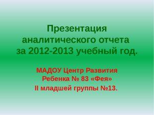Презентация аналитического отчета за 2012-2013 учебный год. МАДОУ Центр Разви