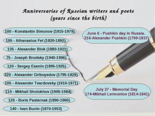 120 - Sergey Esenin (1895-1925) 75 - Joseph Brodsky (1940-1996) 135 - Alexand