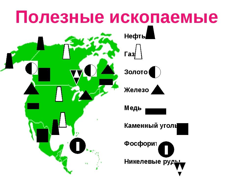 Полезные ископаемые Нефть Газ Золото Железо Медь Каменный уголь Фосфорит Нике...