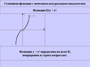 Степенная функция с нечетным натуральным показателем. Функция f(x) = x3. Функ
