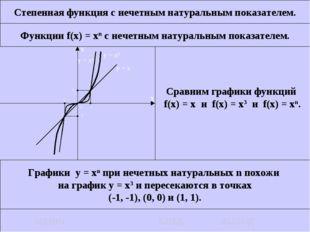 Степенная функция с нечетным натуральным показателем. Функции f(x) = xn c неч