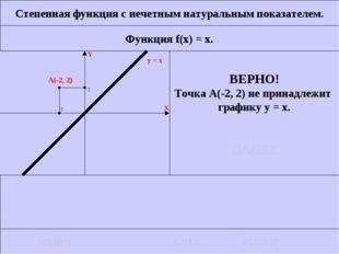 Степенная функция с нечетным натуральным показателем. Функция f(x) = x. ВЕРНО