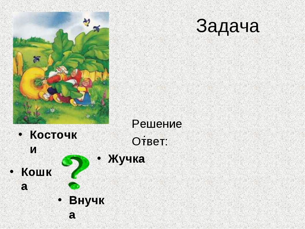 Задача Косточки - 4 косточки Жучка Внучка Кошка - ?, на 3 больше Решение: 4 +...