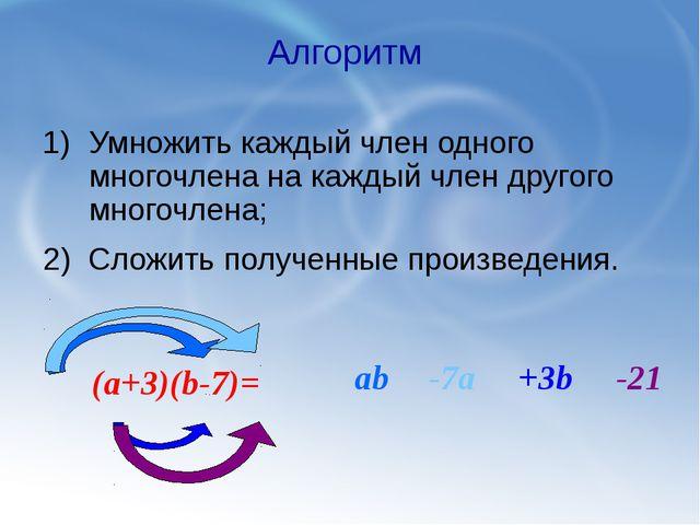 Умножить каждый член одного многочлена на каждый член другого многочлена; Алг...