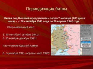 Периодизация битвы Оборонительный этап: 1. 30 сентября- октябрь 1941г. 2. 15