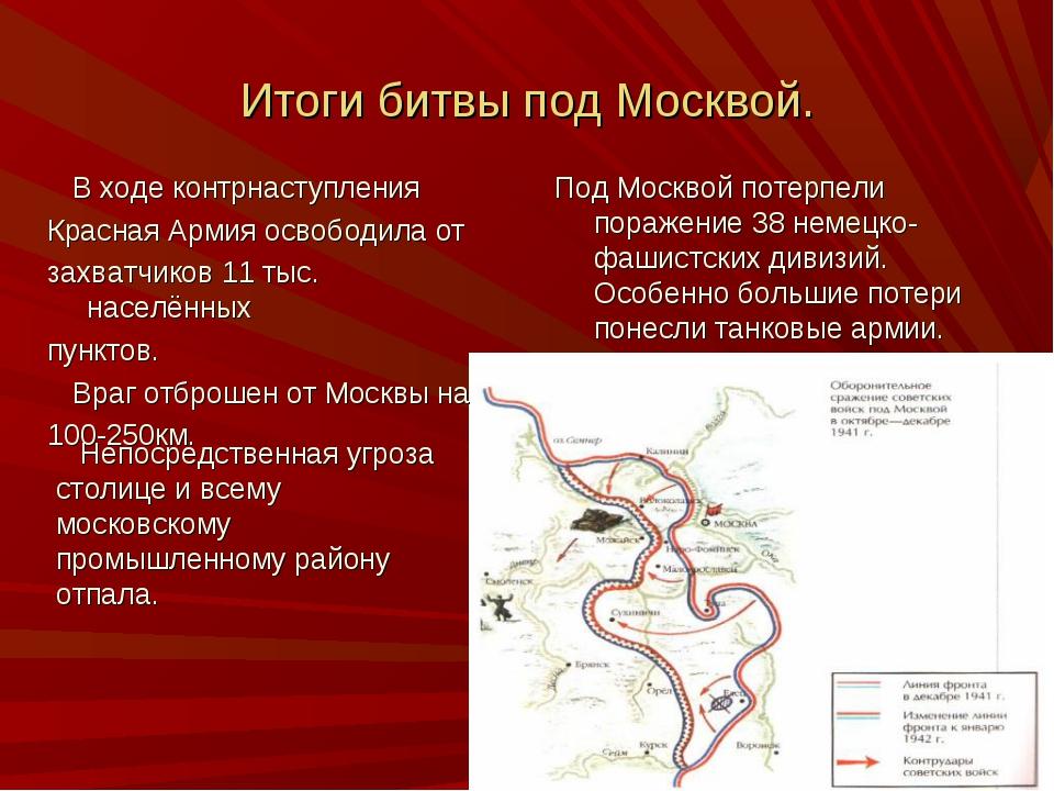 Итоги битвы под Москвой. Под Москвой потерпели поражение 38 немецко-фашистски...