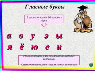 Гласные буквы а о у э ы я ё ю е и В русском языке 10 гласных букв Гласные пер