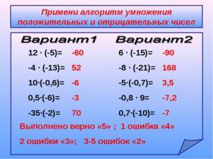 Примени алгоритм умножения положительных и отрицательных чисел 12 ∙ (-5)= -4