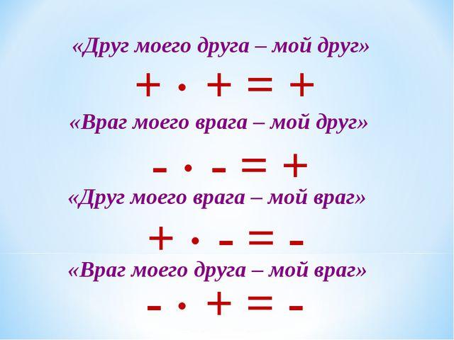 «Друг моего друга – мой друг» +  + = + «Враг моего врага – мой друг» -  - =...