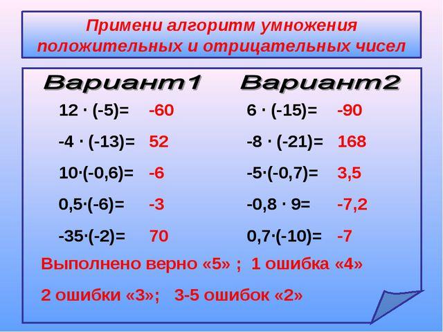 Примени алгоритм умножения положительных и отрицательных чисел 12 ∙ (-5)= -4...