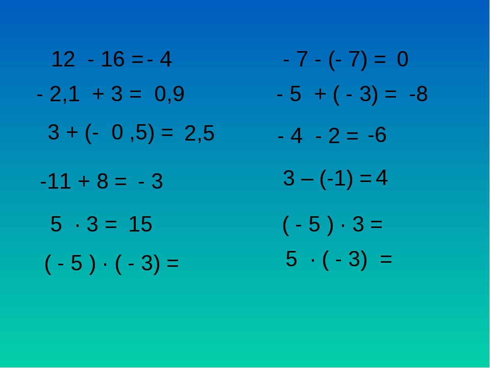12 - 16 = - 4 - 2,1 + 3 = 0,9 3 + (- 0 ,5) = 2,5 - 7 - (- 7) = 0 - 5 + ( - 3)...