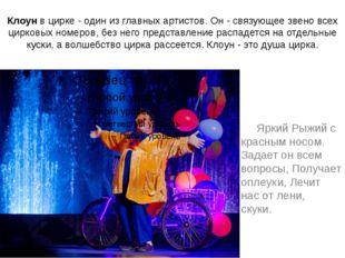 Клоунв цирке - один из главных артистов. Он - связующее звено всех цирковых