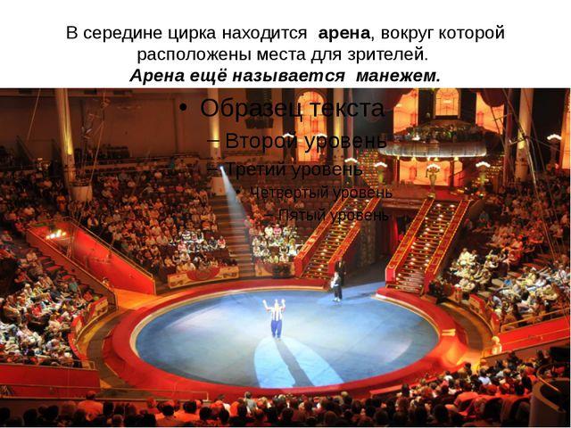 В середине цирка находится арена, вокруг которой расположены места для зрител...