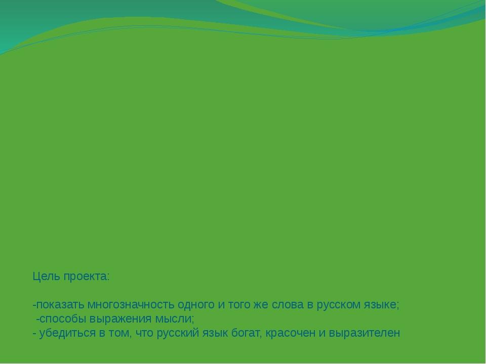 Цель проекта: -показать многозначность одного и того же слова в русском языке...