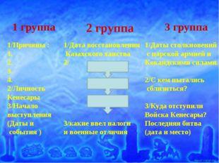 1/Причины : 1. 2. 3. 4. 2/Личность Кенесары 3/Начало выступления (Даты и собы