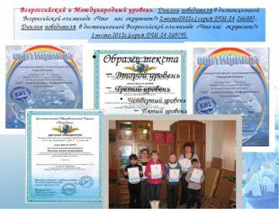 Всероссийский и Международный уровень.- Диплом победителя в дистанционной Все