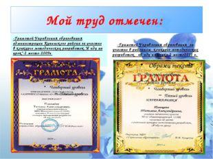 Мой труд отмечен: -Грамотой Управления образования администрации Купинского р