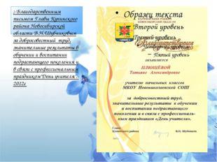 ;-Благодарственным письмом Главы Купинского района Новосибирской области В.Н