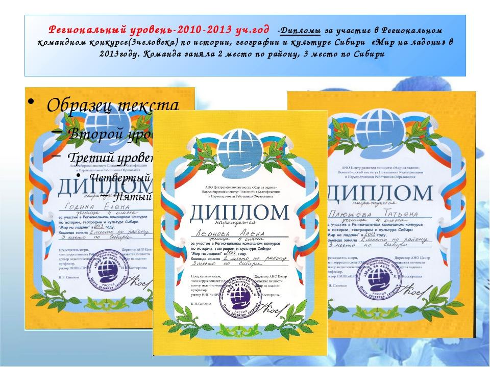 Региональный уровень-2010-2013 уч.год -Дипломы за участие в Региональном кома...