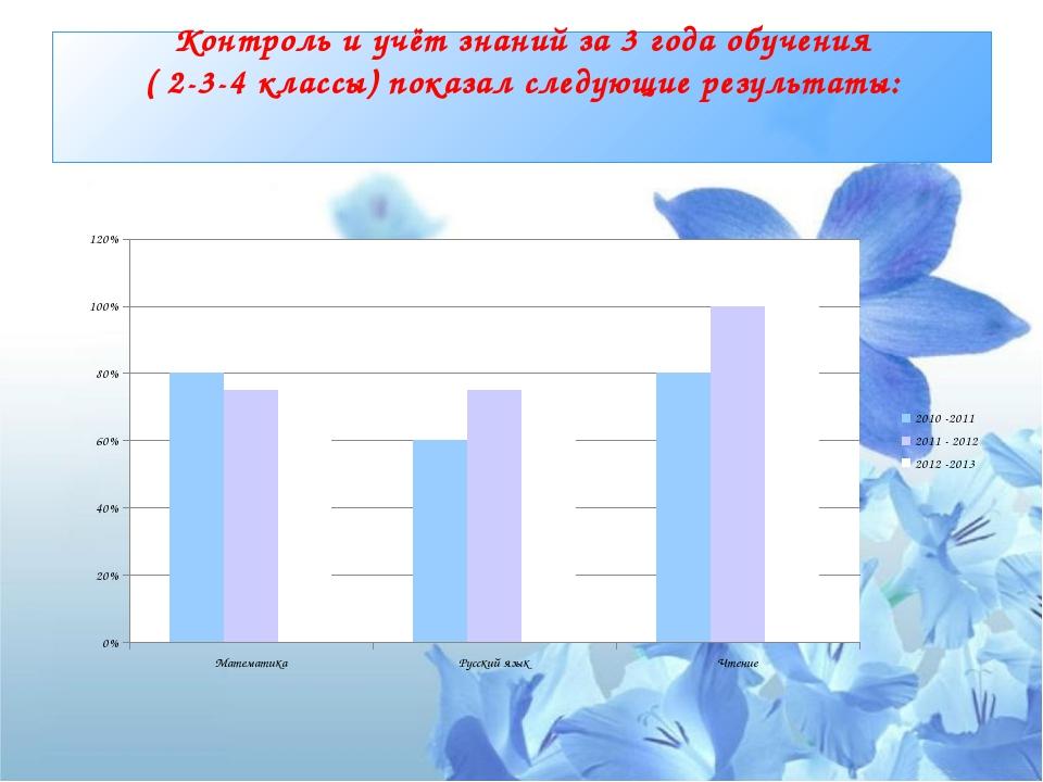 Контроль и учёт знаний за 3 года обучения ( 2-3-4 классы) показал следующие р...