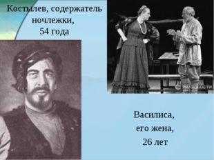 Костылев, содержатель ночлежки, 54 года Василиса, его жена, 26 лет