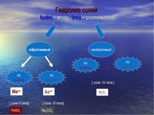 обратимый необратимый по катиону по аниону Меn+ { соли II типа} Асm- { соли I