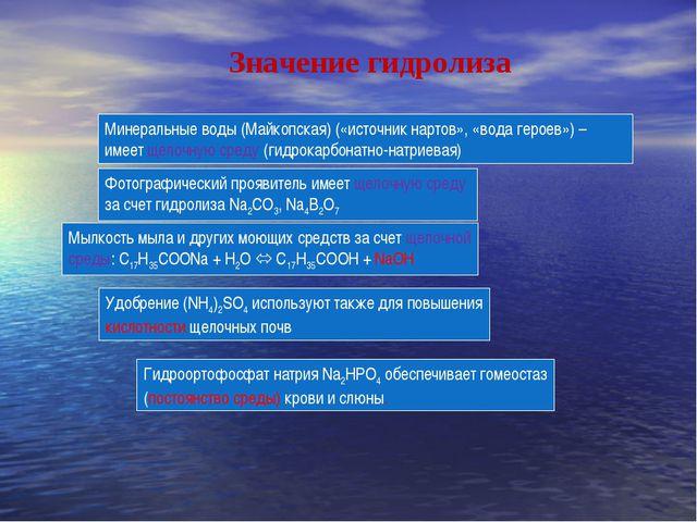 Мылкость мыла и других моющих средств за счет щелочной среды: С17Н35СООNa + H...