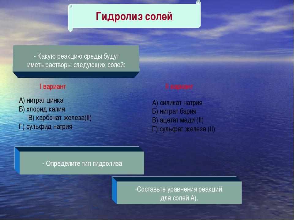 Гидролиз солей - Какую реакцию среды будут иметь растворы следующих солей: I...