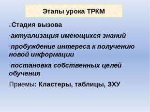 Этапы урока ТРКМ Стадия вызова актуализация имеющихся знаний пробуждение инте