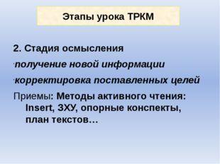 Этапы урока ТРКМ 2. Стадия осмысления получение новой информации корректировк