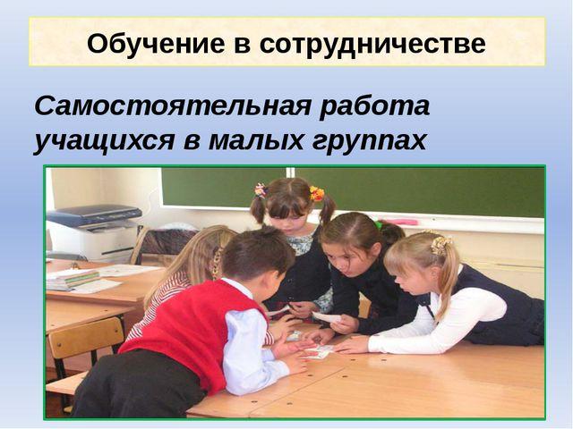 Обучение в сотрудничестве Самостоятельная работа учащихся в малых группах