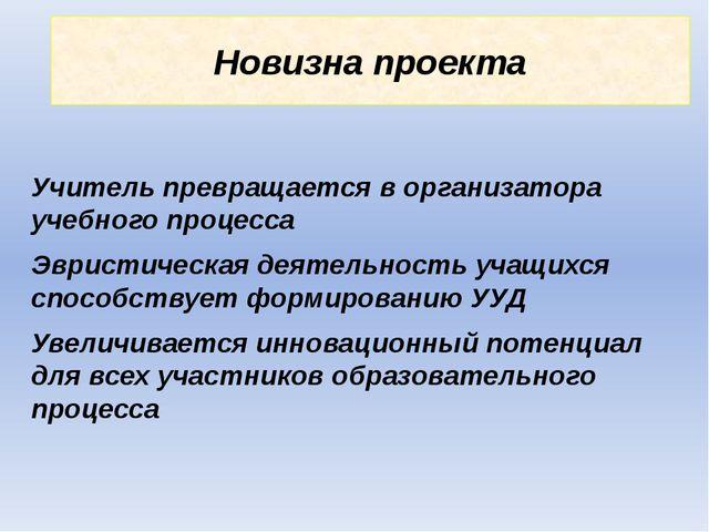 Новизна проекта Учитель превращается в организатора учебного процесса Эвристи...