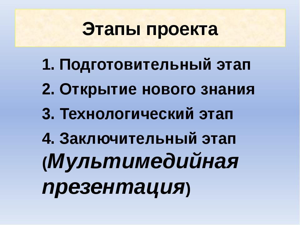 Этапы проекта 1. Подготовительный этап 2. Открытие нового знания 3. Технологи...