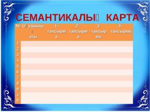 СЕМАНТИКАЛЫҚ КАРТА №Оқушының аты 1 - тапсырма2 - тапсырма3- тапсырма 4 -