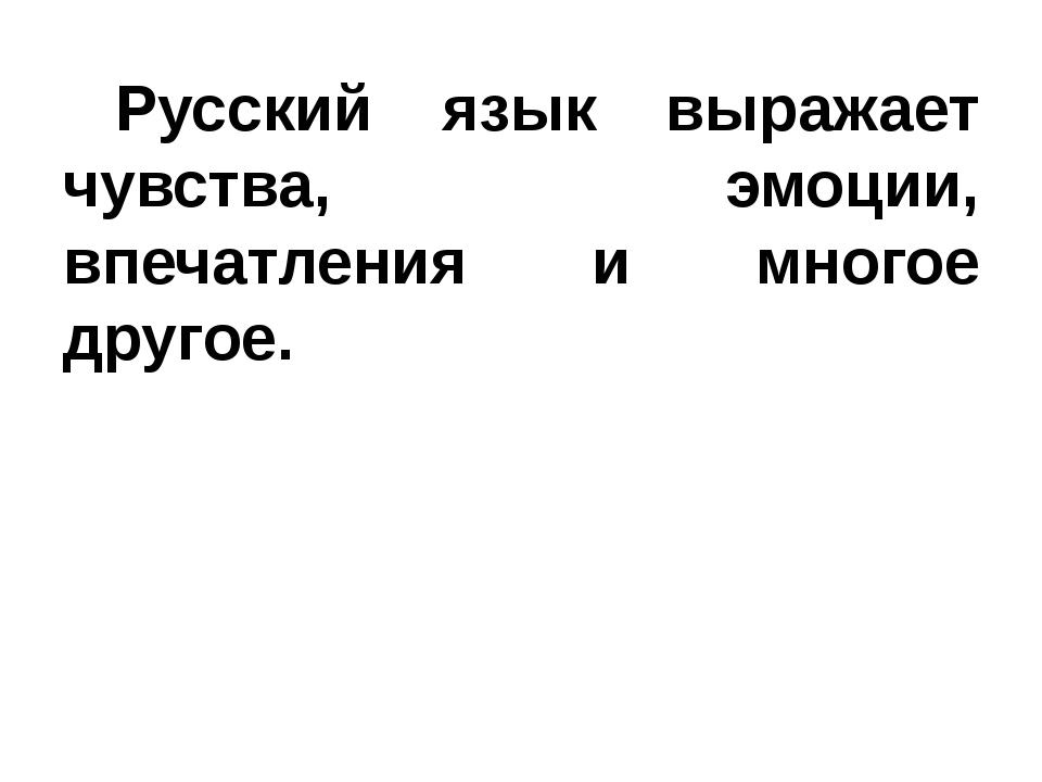 Русский язык выражает чувства, эмоции, впечатления и многое другое.
