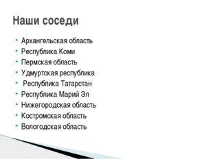 Архангельская область Республика Коми Пермская область Удмуртская республика