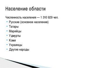 Численность населения— 1 310 929чел. Русские (основное население) Татары Ма